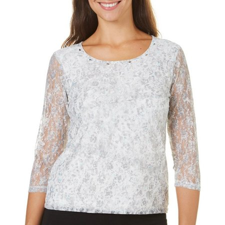Hearts of Palm Womens Floral Lace Top