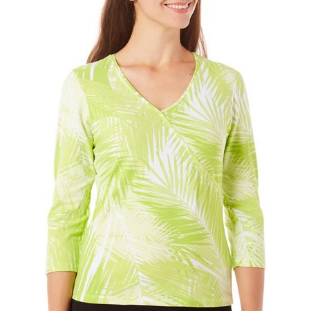 Hearts of Palm Womens Surplice Front Leaf Top