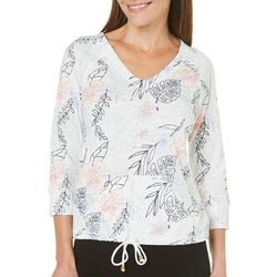 Hearts of Palm Womens Paradise Floral Print Top