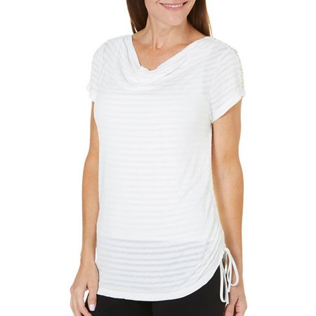 Hearts of Palm Womens Embellished Scoop Neck Top