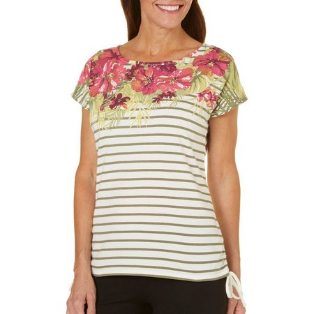 Hearts of Palm Womens Berry Fine Stripe Top