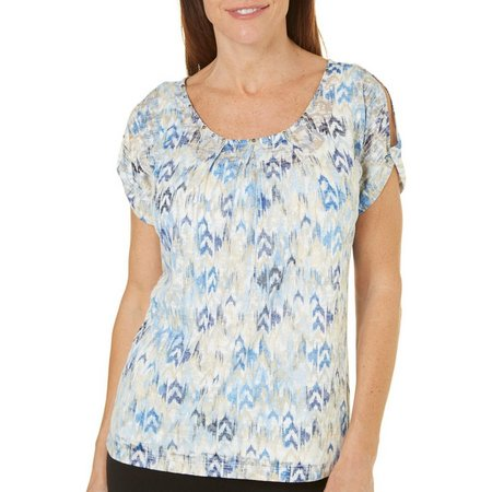Hearts of Palm Womens Ikat Print Cold Shoulder
