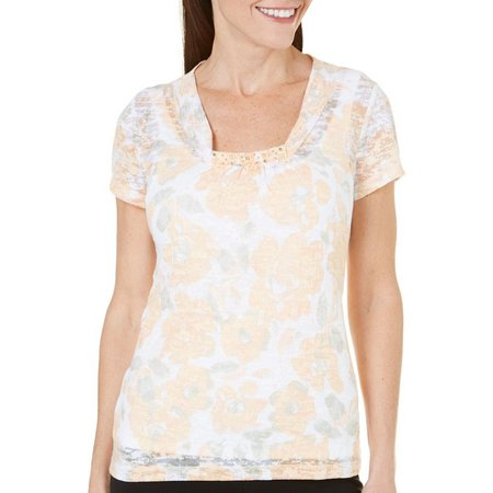 Hearts of Palm Womens Botanical Short Sleeve Top