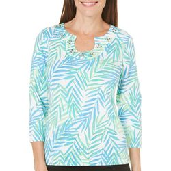 Hearts of Palm Womens Leaf Print Horseshoe Top