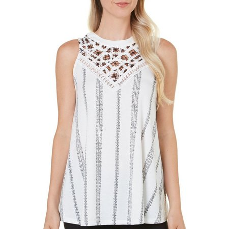 Thyme & Honey Womens Crochet Embroidered Trim Top
