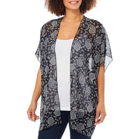 COCO'S CLOZET Women's Sheer Bandana Print Kimono