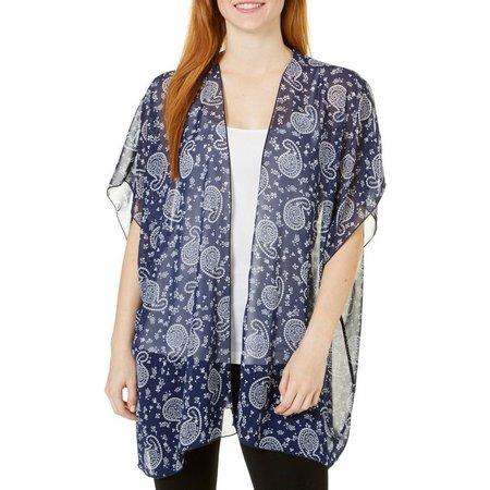 Coco's Clozet Womens Bandana Paisley Short Sleeve Kimono