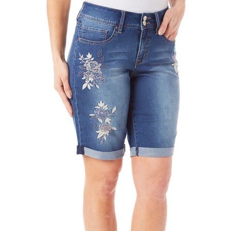 Royalty by YMI Womens Floral Denim Bermuda Shorts