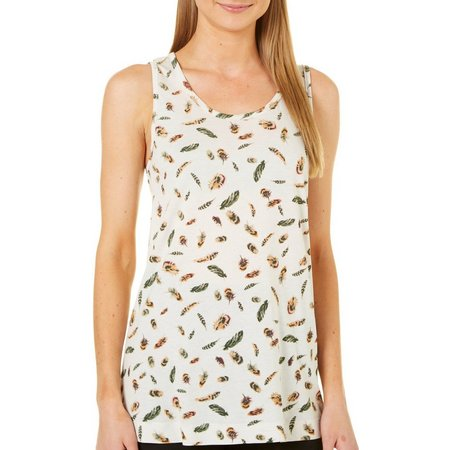 Philosophy Womens Feather Print High-Low Tank Top