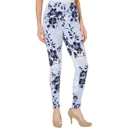 Allison Brittney Womens Stripe Floral Print Mix Leggings
