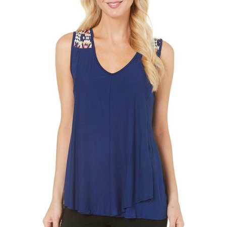 Allison Brittney Womens Aztec Print Shoulder Top