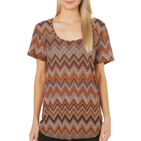 Allison Brittney Chevron Print Scoop Neck Short Sleeve