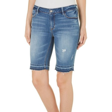 Kensie Jeans Womens Faded Bermuda Denim Shorts
