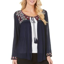 Sky & Sand Womens Embriodered Open Front Cardigan