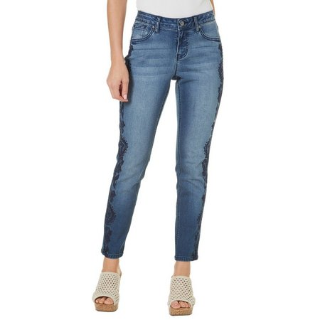 Earl Jean Womens Embroidery Skinny Ankle Jeans