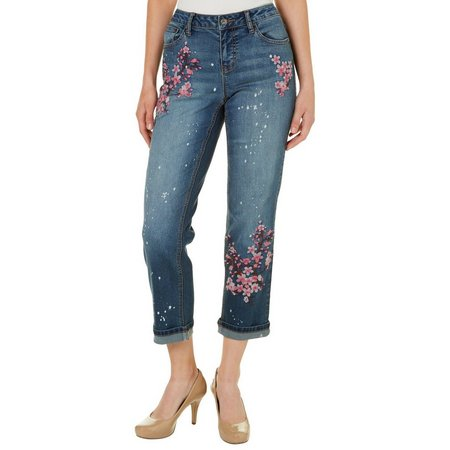 Earl Jean Womens Cherry Blossom Embroidered Ankle Jeans