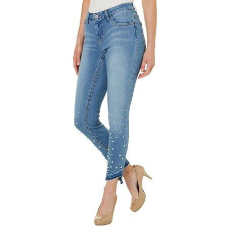 Earl Jean Womens Pearl Embellished Step Hem Skinny