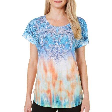 Phriends Womens Watercolor Tie Dye Print T-Shirt