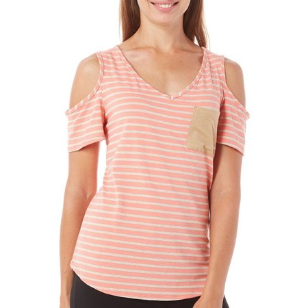 Nouvida Womens Stripe Cold Shoulder Top