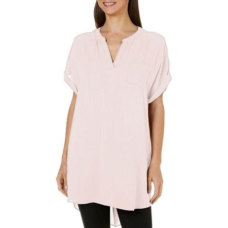Nouvida Womens Solid Woven Tunic Top
