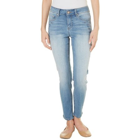 Beau Womens Embriodered Denim Pants