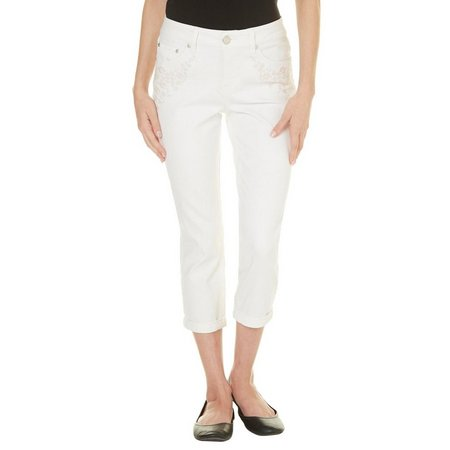 New! Beau Womens Solid Embriodered Denim Capris