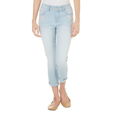 New! Beau Womens Embriodered Denim Capris
