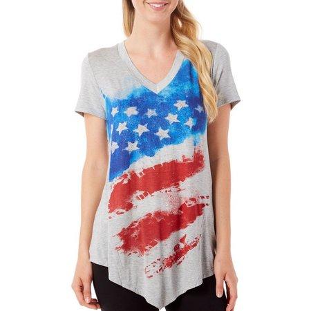 New! B.L.E.U. Womens American Flag Crochet Back Top