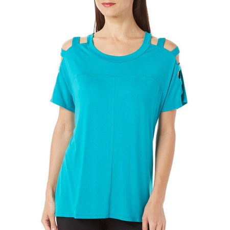 B.L.E.U. Womens Solid Caged Sleeve Top