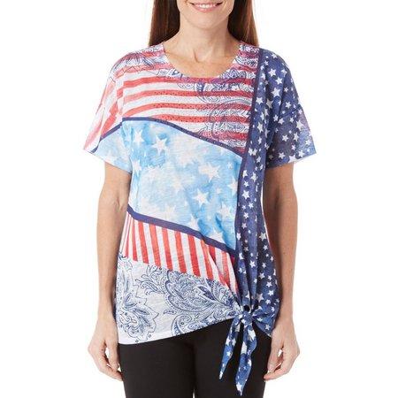 B.L.E.U. Womens Tie Front Americana Top
