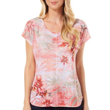 B.L.E.U. Womens Lace Embellished Floral Top