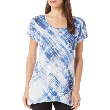 B.L.E.U. Womens Star Print Tie Dye Top
