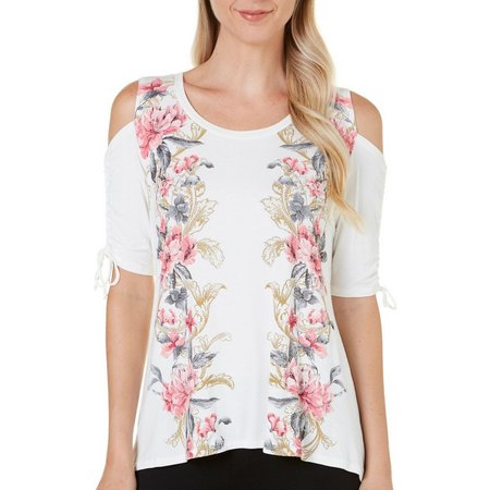 B.L.E.U. Womens Floral Print Cold Shoulder Top