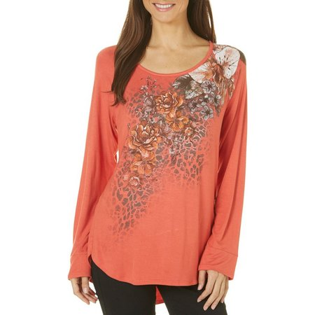 B.L.E.U. Womens Long Sleeve Floral Print T-Shirt