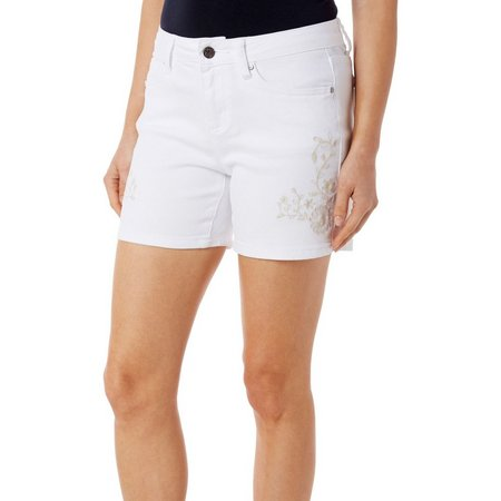 Earl Jean Womens Floral Embriodered Shorts