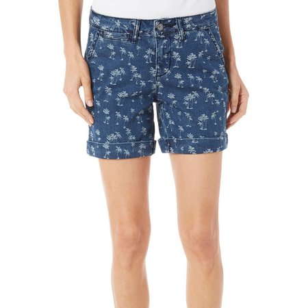 Earl Jean Womens Palm Print Denim Shorts