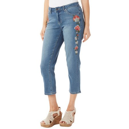 Earl Jean Womens Floral Embriodered Capris