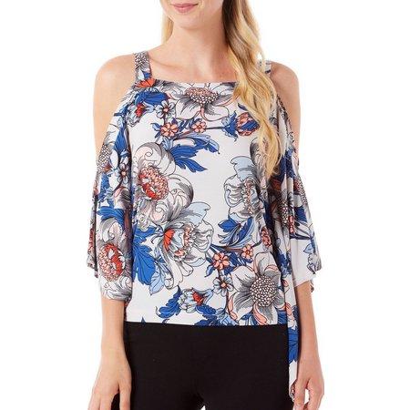 207e190805823a ECI Womens Floral Print Drape Cold Shoulder Top