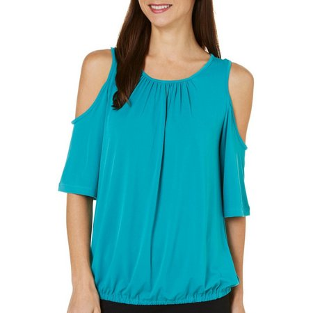 ECI Womens Solid Cold Shoulder Banded Hem Top