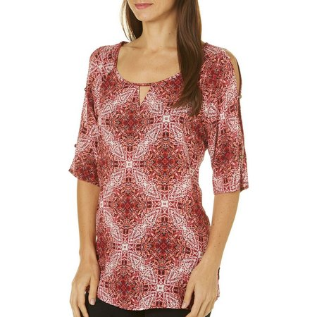 Como Vintage Womens Medallion Cold Shoulder Top