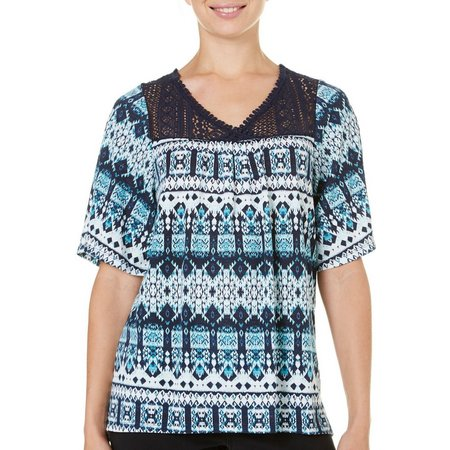 Como Vintage Womens Tribal Print Lace Yoke Top