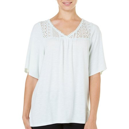 Como Vintage Womens Solid Lace Yoke Top