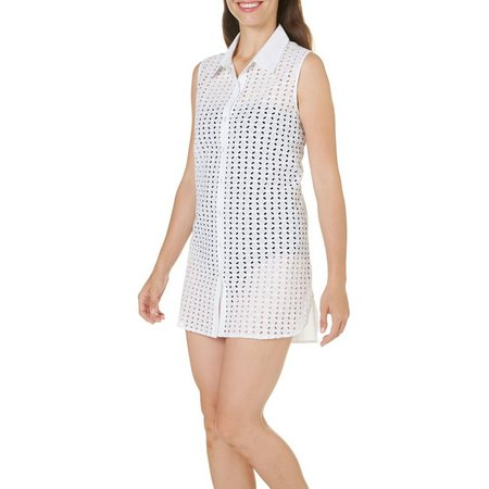 Cathy Daniels Womens Eyelet Button Down Cover-Up
