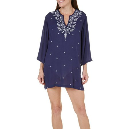 New! Cathy Daniels Womens Embroidery Tunic Cover-Up