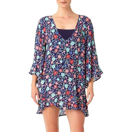 Anne Cole Womesn Floral Flounce Tunic Cover-Up