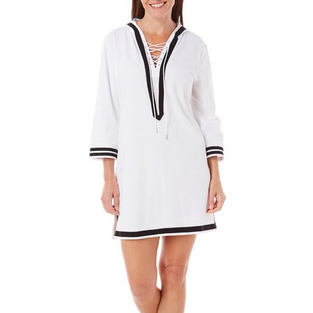 Paradise Bay Womens Lace-Up Hoodie Tunic Cover-Up