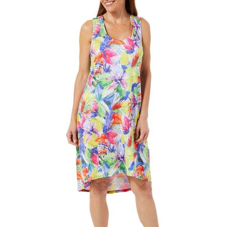 Paradise Bay Womens Floral Tank Dress Cover-Up