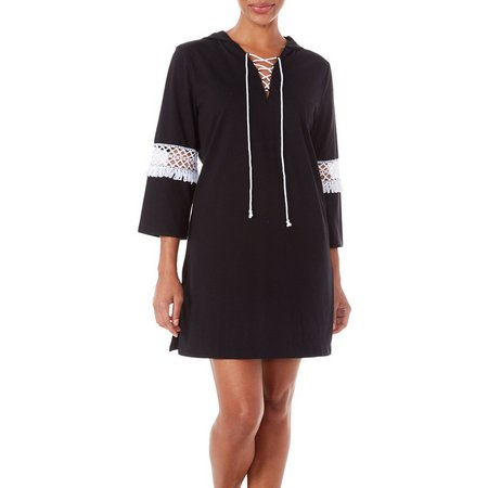 Paradise Bay Womens Lace Up Hooded Dress Cover-Up