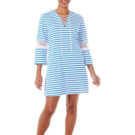 Paradise Bay Womens Lace-Up Stripe Dress Cover-Up