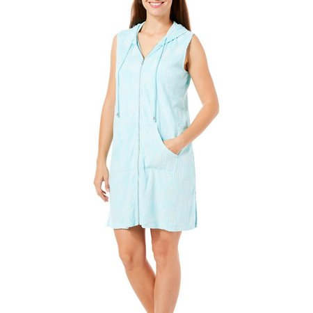 Paradise Bay Womens Zip Front Hoodie Sleeveless Cover-Up